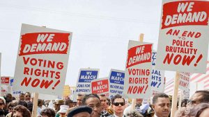 Color photograph of 1960s civil rights protest