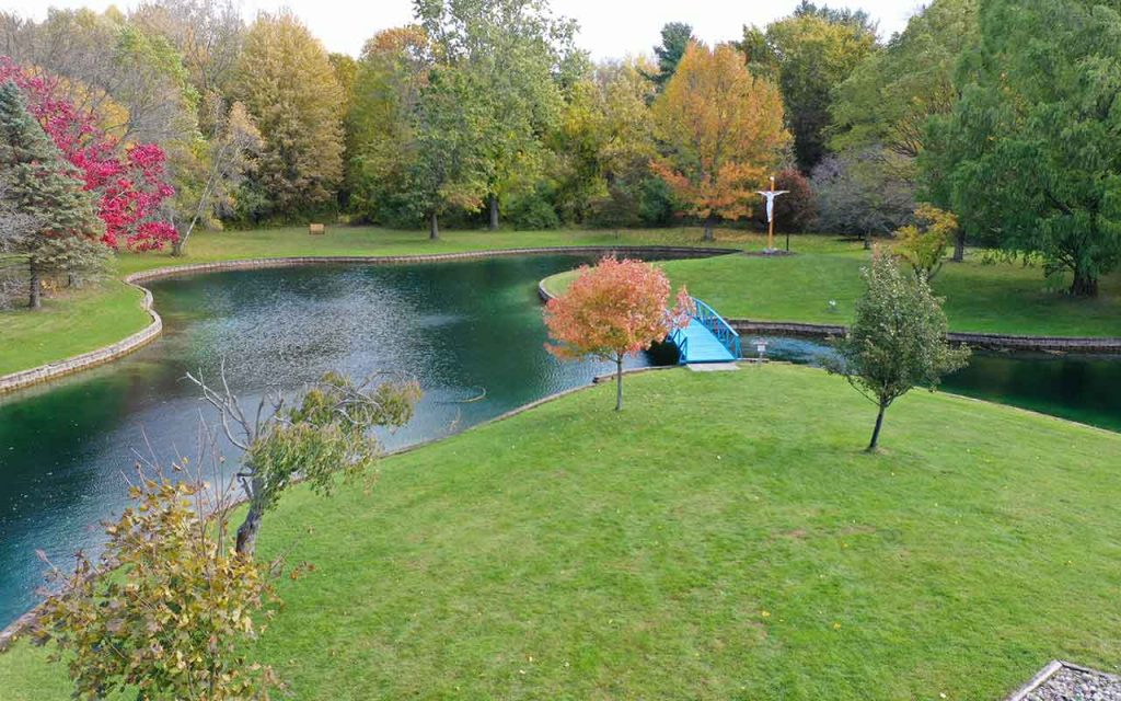 Autumn aerial view of the pond at Capuchin Retreat