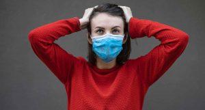 Woman wearing face mask