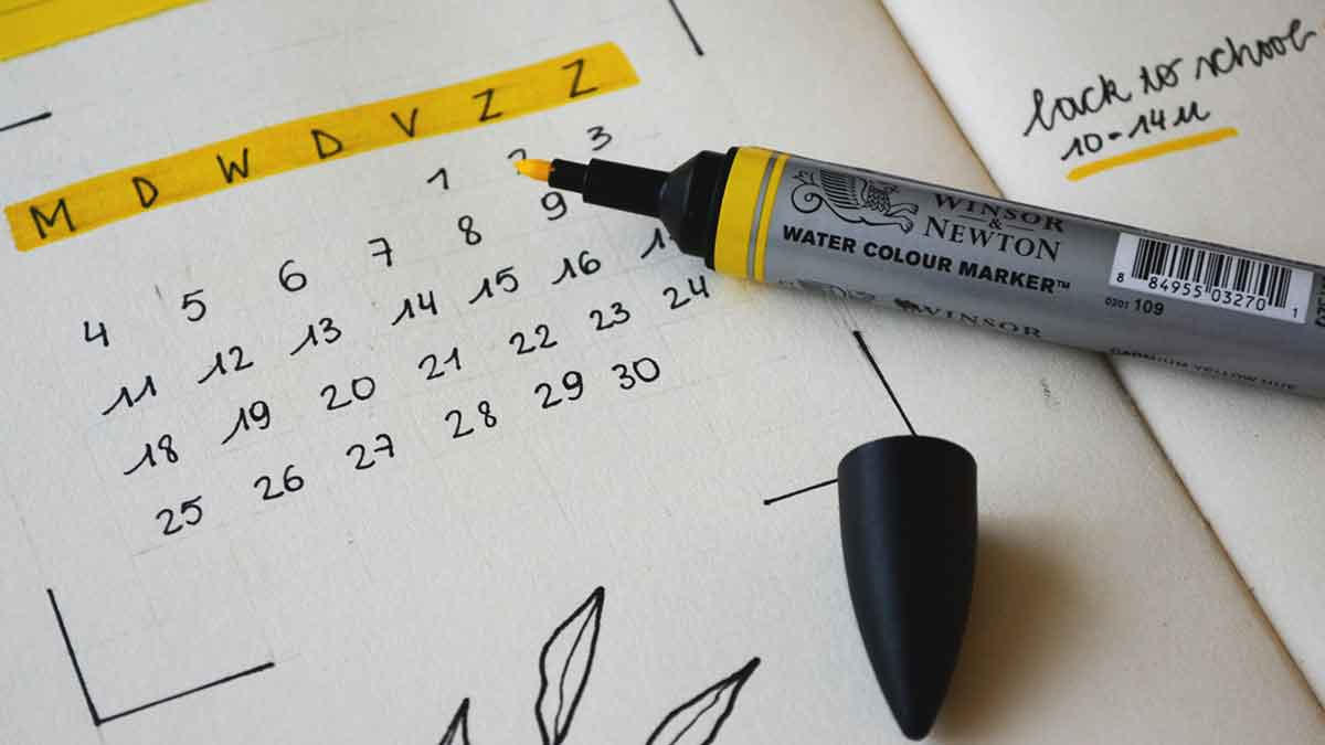"Calendar open to the month of September marked with ""Back to School"""