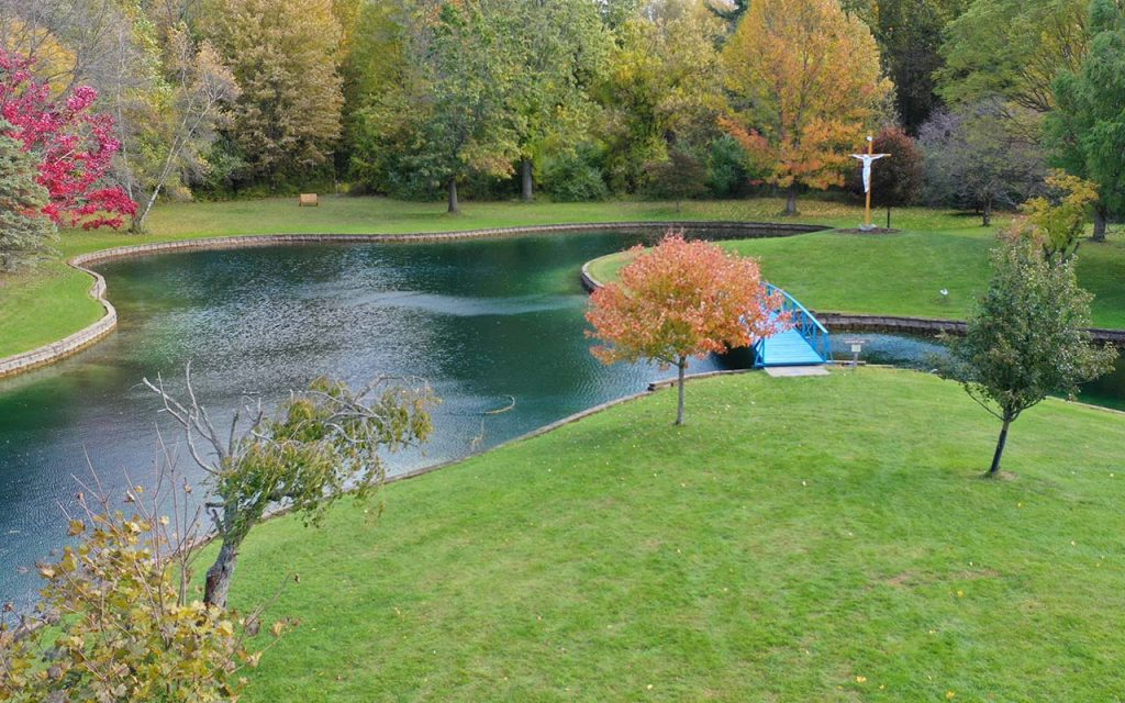 Aerial photo of the pond and Crucifix at Capuchin Retreat